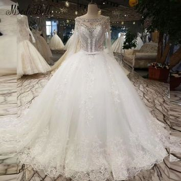 modabelle Crystal Lace White Wedding Dress Bride Vestido De Novia Princess Sexy Backless Luxury Beaded Long Sleeve Bridal Gowns