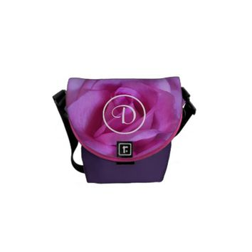 Pink rose photo custom monogram mini messenger bag