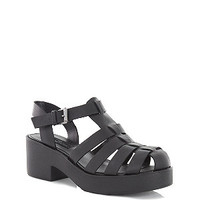 Limited Black Leather Chunky Gladiator Sandals