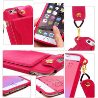 iPhone 6/6s Case, iPhone 6/6s Wallet Case [Slim Fit][Kickstand]Leather Cover with Strap
