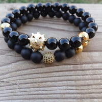 Men's Bracelet, Men Black Bracelet, Gold Sanding Mace Ball Bead CZ Zirconia Cubic Pave Ball Black Onyx Hematite Bracelet Set, Gift For Him
