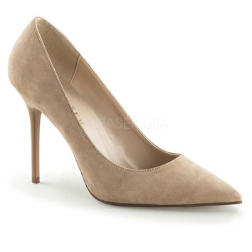 "Classique 20 Nude Suede Pointy Toe 4"" Stiletto Heel Pump 6 - 16 Queen"