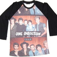 One Direction 1D Boyband Punk Rock Muscle Tee Shirt long sleeve baseball Women Girl Sz S,M,L