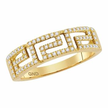 10kt Yellow Gold Women's Round Diamond Greek Key Band Ring 1-5 Cttw - FREE Shipping (US/CAN)