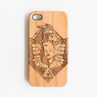 Artisanal Wood Iphone 4 4S Case - Marilyn Engraved Cherry Wood Iphone 4 Case, Wooden Iphone 4S Case