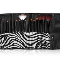 SHANY Pro Brush Set with Synthetic & Goat Bristles with Zebra Magnetic Pouch - 18 count