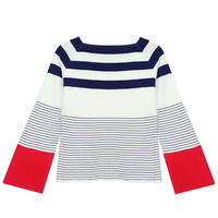 Off Shoulder Sweater with Stripe Detail in Red or Blue