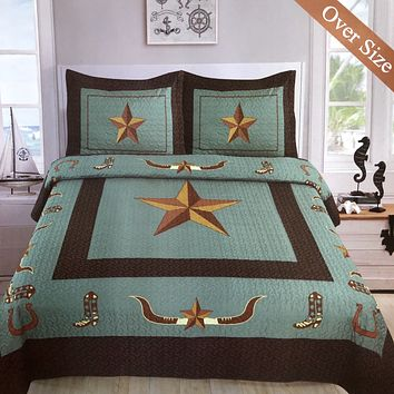 Western Rustic Turquoise Longhorn Star & Boots Bedspread Quilt - 3 Piece Set