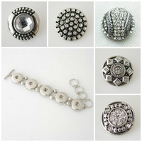 Glass Button Bead Charm Noosa Snap Chunk . 5 High quality snaps plus bracelet. Fits Gingersnap jewelry