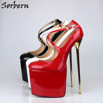 Sorbern Sexy Night Club High Heels 22Cm/9.5Cm High Platforms Pump Red Bottom Metal Stilettos Unisex Shoes Pumps Big Size 40-47