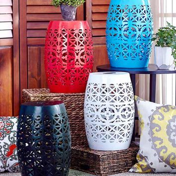 Metal Die Cut Barrel Shaped Table Solar Lighted LED Red, Blue, Black or White
