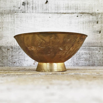 Brass Bowl Small Etched Brass Ornate Floral Trinket Dish Brass Ring Dish Small Jewelry Dish Hollywood Regency Pedestal Bowl Gold Bowl