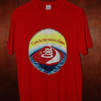 Coke Catch The Wave Coca Cola Tee Shirt Coke Tshirt Soft and Thin Vintage Tee Red Coke Surfboard