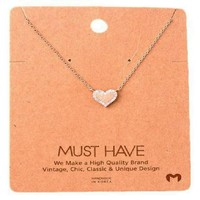 Must Have-Stone Bling Heart Necklace, Rose Gold