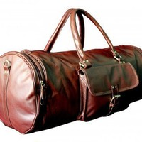 25 inch XL TANNED LEATHER OVERNIGHT GYM BAG DUFFEL BAG | mundialtreasures - Bags & Purses on ArtFire