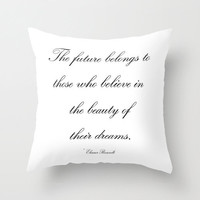 Velveteen Black and White Pillow -  The Future Belongs to  - Quotes -  Housewares - Home Decor - Typography - Teen Room Decor