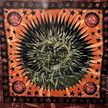 Sun and star Tapestry, Sun and moon, Mandala, Star Tapestry, Wall Hanging, Wall Decor, Bedspread