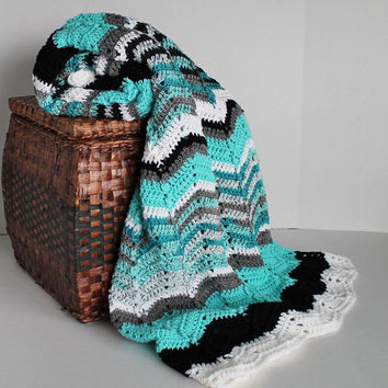 Afghan - Ripple Crochet Blanket - Teal, White and Black