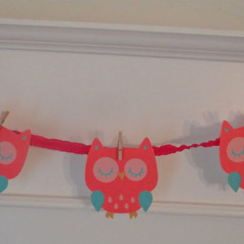 Owl Baby Shower Banner | Blue Pink | Banner  | Baby Girl | Baby Shower | Gender Reveal