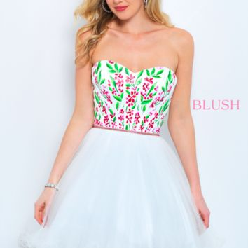 Blush 11362 Strapless Floral Embroidered Dress