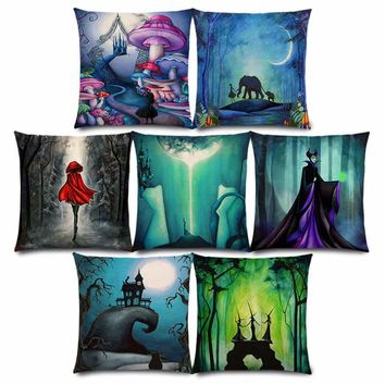 New Alice Dreams Cute Cat Magical Moon Night Wonderland Emerald Forest Witches Halloween Dance Cushion Cover Pillow Case
