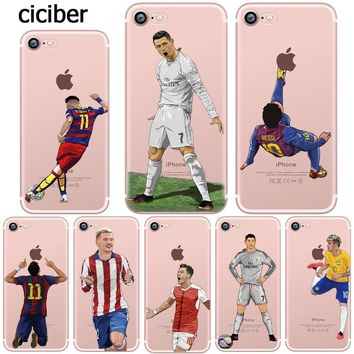 Phone Case Messi Neymar Cristiano Ronaldo Barcelona Football Jersey for iphone 7 6S 6 8 PLUS 5S 5 SE X 10 Transparent Silicone