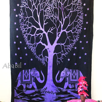 PURPLE HIPPIE TAPESTRY, Indian Cotton Handmade Hippie Tapestry, Traditional Elephant Printed Floral Tapestry, Tree of Life Tapestry