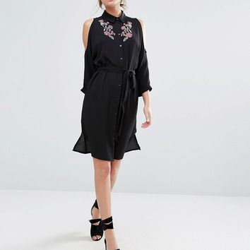 New Look Embroidered Cold Shoulder Shirt Dress