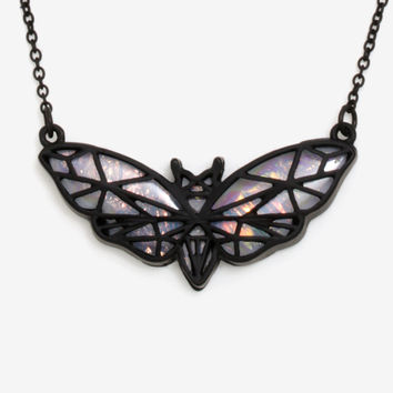 Blackheart Prism Die-Cut Moth Necklace