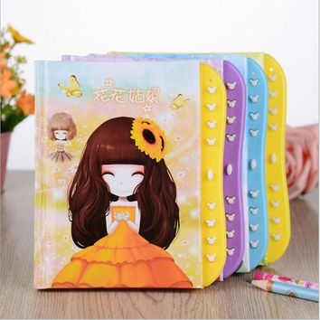 Cute Kawaii Cartoon Notebook Journal Lovely Girl Personal Diary Book With Lock For Kids School Supplies Free Shipping 2352