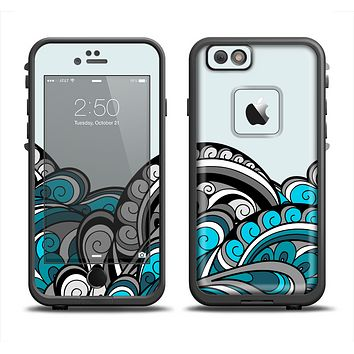 The Abstract Black & Blue Paisley Waves Skin Set for the Apple iPhone 6 LifeProof Fre Case