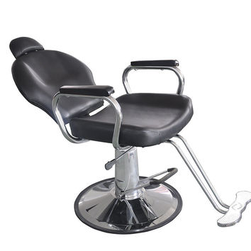 Reclining Hydraulic Barber Chair Salon Styling Beauty Spa Shampoo Black 9838