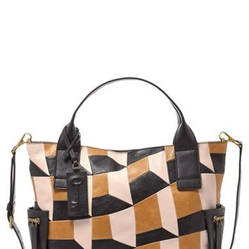 Fossil 'Emerson' Patchwork Leather Satchel - Beige