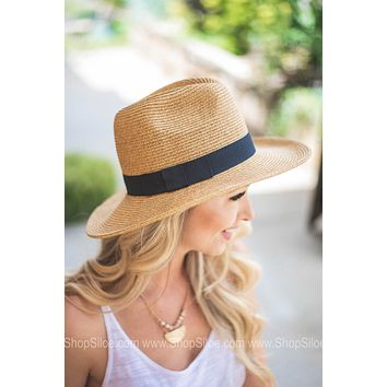 Floppy Black Bow Ribbon Straw Hat