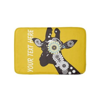 Funky Cool Paisley Giraffe Whimsical Yellow Bath Mats