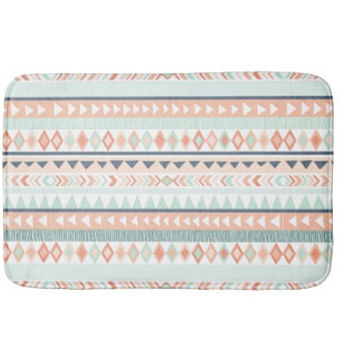 Tribal Plush Bath Mat, Bathroom Rug, Mint, Coral