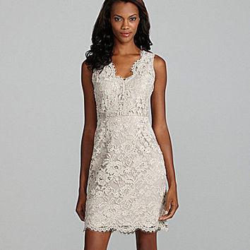 DKNY Sleeveless white Lace Dress | Dillards.com