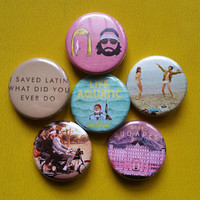 Wes Anderson set of 6 pin back buttons 1.25""