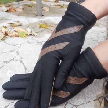 """Vintage Women's Gloves 1970s Black and Brown Aris Isotoner Gloves  Winter Gloves  One Size Fits All 9"""" Length"""