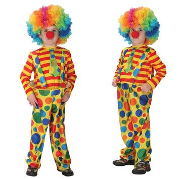 Halloween Cosplay Costumes Children Circus Clown Naughty Harlequin Fancy Fantasia Infantil Clothes for Boys Girls dress up