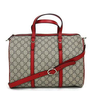 Gucci Women's Beige Ebony GG Supreme Canvas Nice Medium Boston Bag 322231 9778