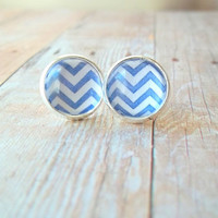 D E N I M - Denim Navy Blue and White Chevron Pattern Photo Glass Cab Circle Silver Plated Post Stud Earrings