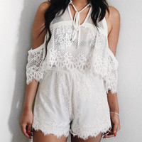 Off The Shoulder Scalloped Lace Romper (White)