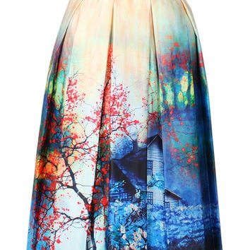 Multi Scene Print High Waist Pleated Skater Midi Skirt