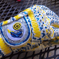 Bright Blue Yellow and Silver White Leather by NeverDoubtDesigns