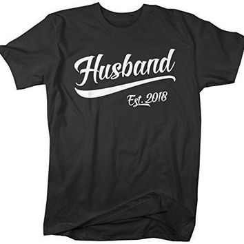 Shirts By Sarah Men's Husband EST. 2018 T-Shirt Wedding Anniversary Shirts Tees