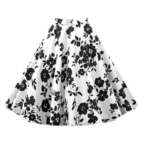 Hepburn Style Vintage Bubble Skirt A-line Pleated Skirt   white black   S