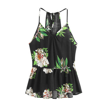 Floral Printed Casual Sleeveless Crop Top