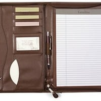 Gemline Deluxe Executive Vintage Brown Leather Zippered Padfolio