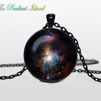NEBULA Pendant the Orion Nebula Necklace Galaxy Blue Red GreenTurquoise White Silver Jewelry Necklace for him Art Gifts for Her